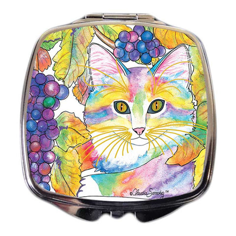 Chianti Cat Art Compact Mirror by Claudia Sanchez