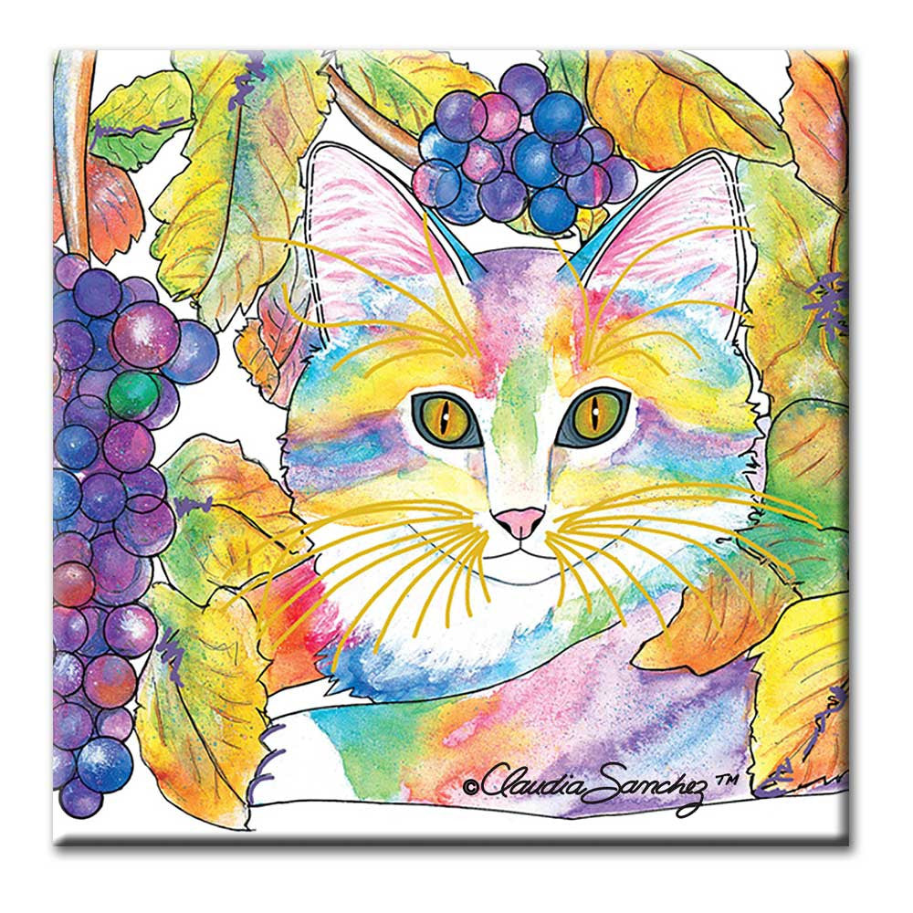 Chianti Wine Country Cat Art Ceramic Tile by Claudia Sanchez