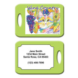 Chianti - Cat Art Luggage Tag by Claudia Sanchez - Wine Country Cats