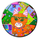 Christmas in Orange Ceramic Cat Art Christmas Ornament by Claudia Sanchez, Claudia's Cats Collection