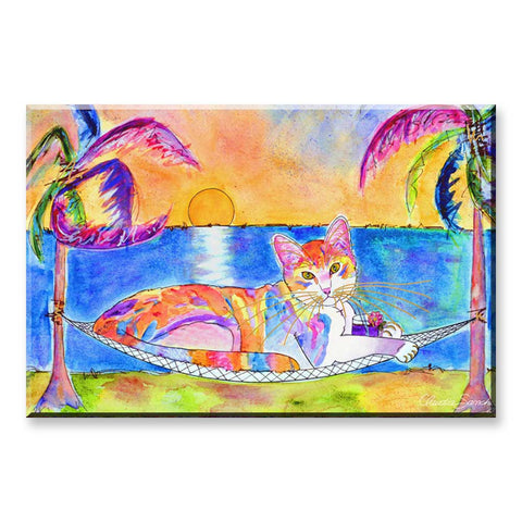 Chucky Laid Back Cat - Cat Art Magnet by Claudia Sanchez
