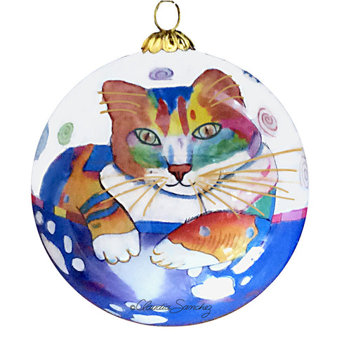 Abby Coffee Cat Hand-Painted Glass Ball Ornament, front view, by Claudia Sanchez