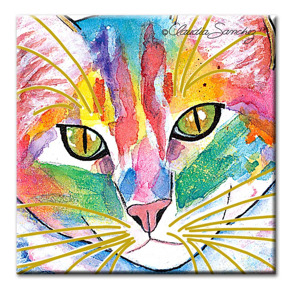 Abby Face Cat Art Ceramic Tile by Claudia Sanchez
