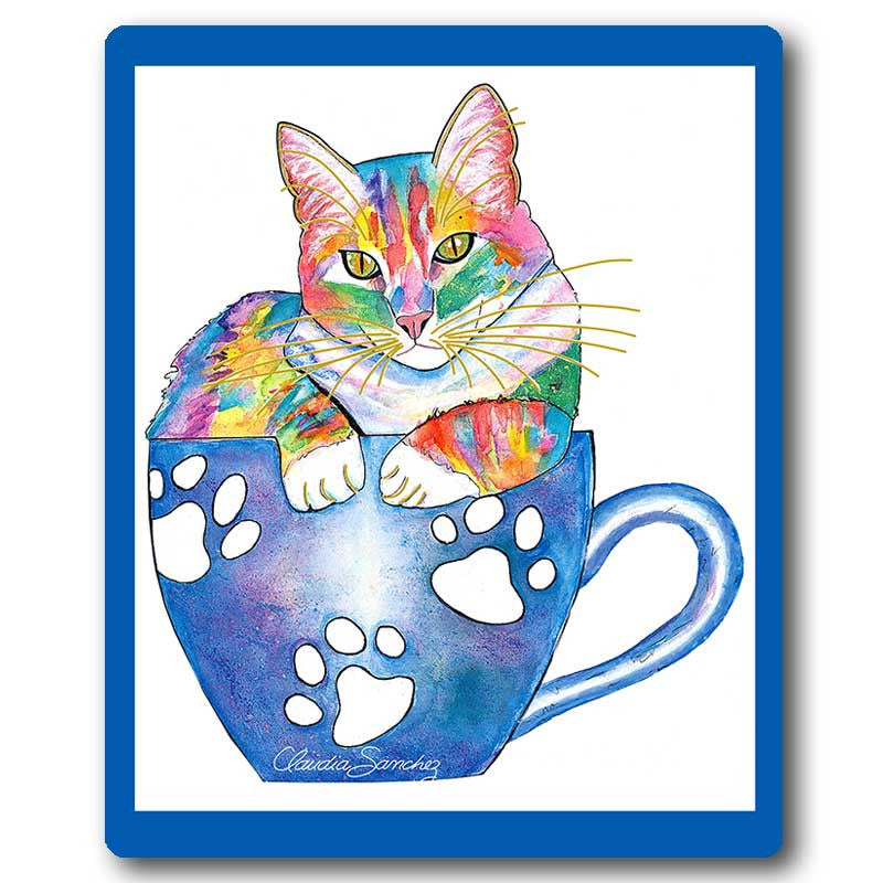 Coffee Cat Mousepad by Claudia Sanchez, Claudia's Cats Collection