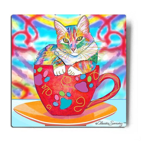 Coffee Cat Multicolor Aluminum Cat Art Print by Claudia Sanchez, Claudia's Cats Collection