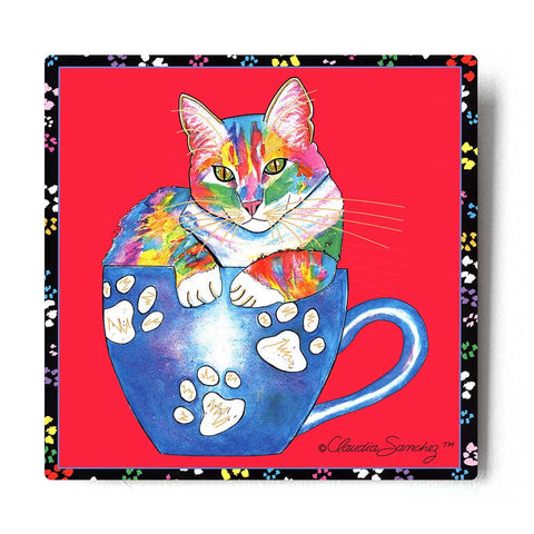 Coffee Cat on Red Aluminum Art Print by Claudia Sanchez, Claudia's Cats Collection