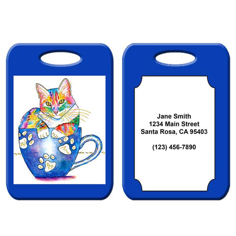 Coffee Cat - Cat Art Luggage Tag
