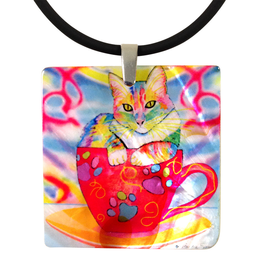Abby Coffee Cat Mother of Pearl Pendant Necklace by Claudia Sanchez, Claudia's Cats Collection