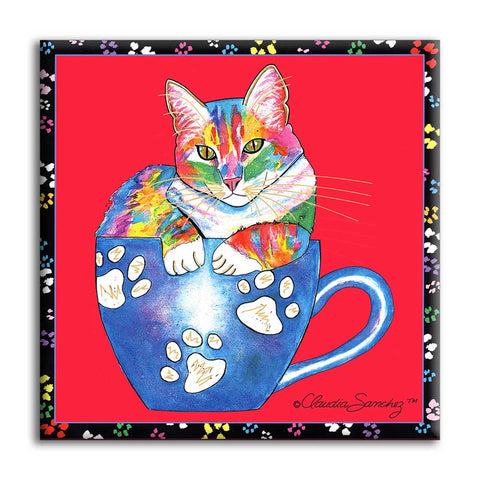 Coffee Cat on Red Cat Art Tile by Claudia Sanchez, Claudia's Cats Collection