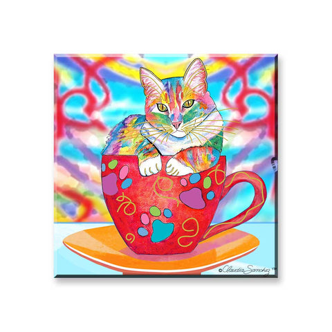 Coffee Cat Multicolor - Cat Art Magnet by Claudia Sanchez