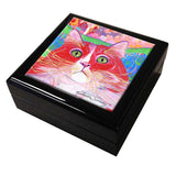 Dory Red Devil Hot Shot Cat Art Tile Keepsake Box by Claudia Sanchez