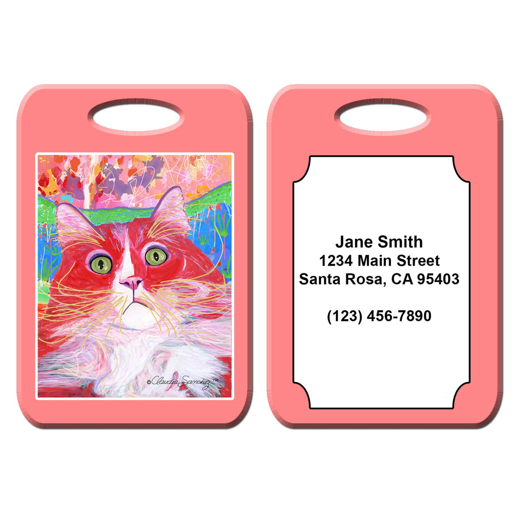Dory Red Devil Hot Shot Cat Art Luggage Tag by Claudia Sanchez