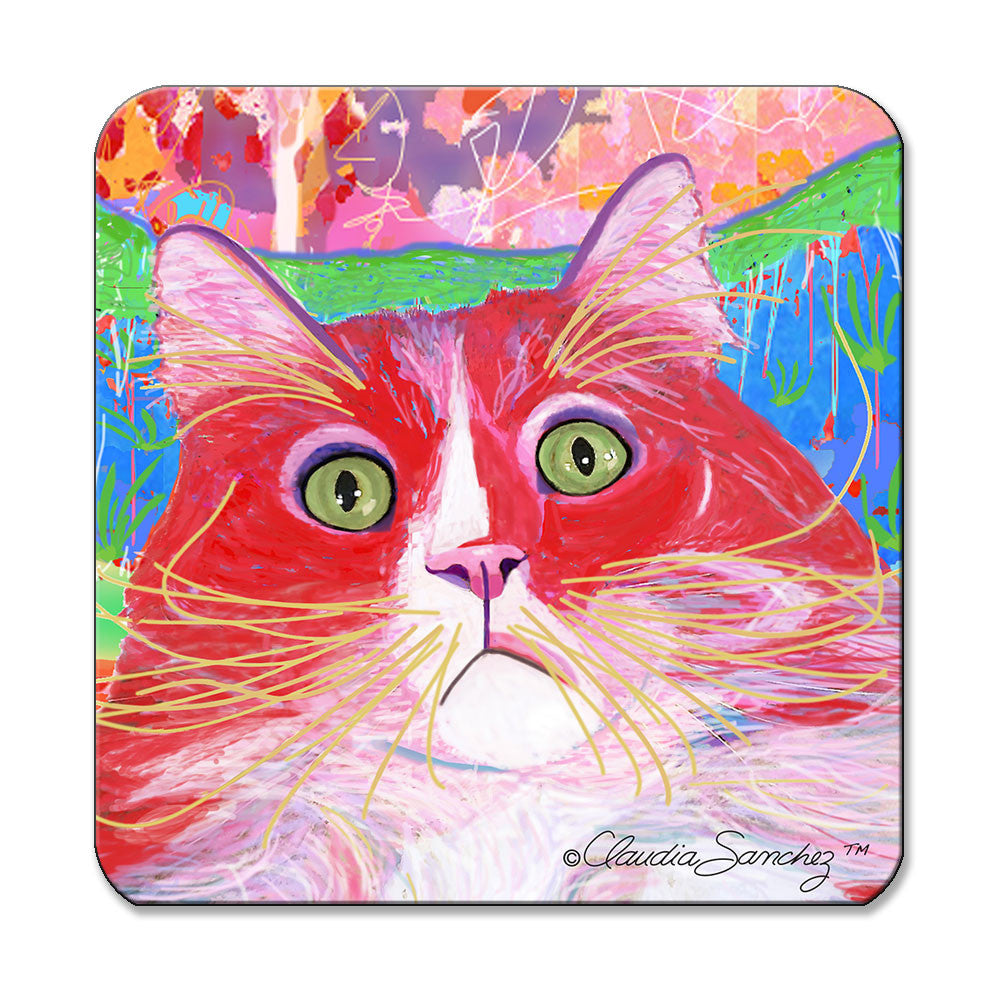 Dory Red Devil Hot Shot Cat Art Coaster