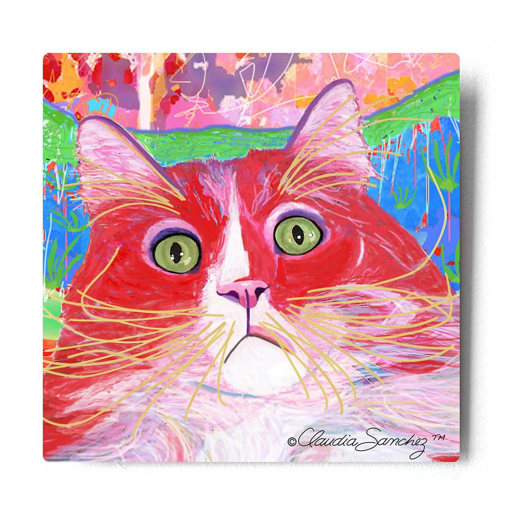 Dory Red Devil Hot Shot Aluminum Cat Art Print by Claudia Sanchez, Claudia's Cats Collection