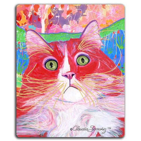 Dory Red Devil Hot Shot Cat Art Mousepad by Claudia Sanchez