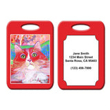 Dory Red Devil Hot Shot Cat Art Luggage Tag by Claudia Sanchez, Red
