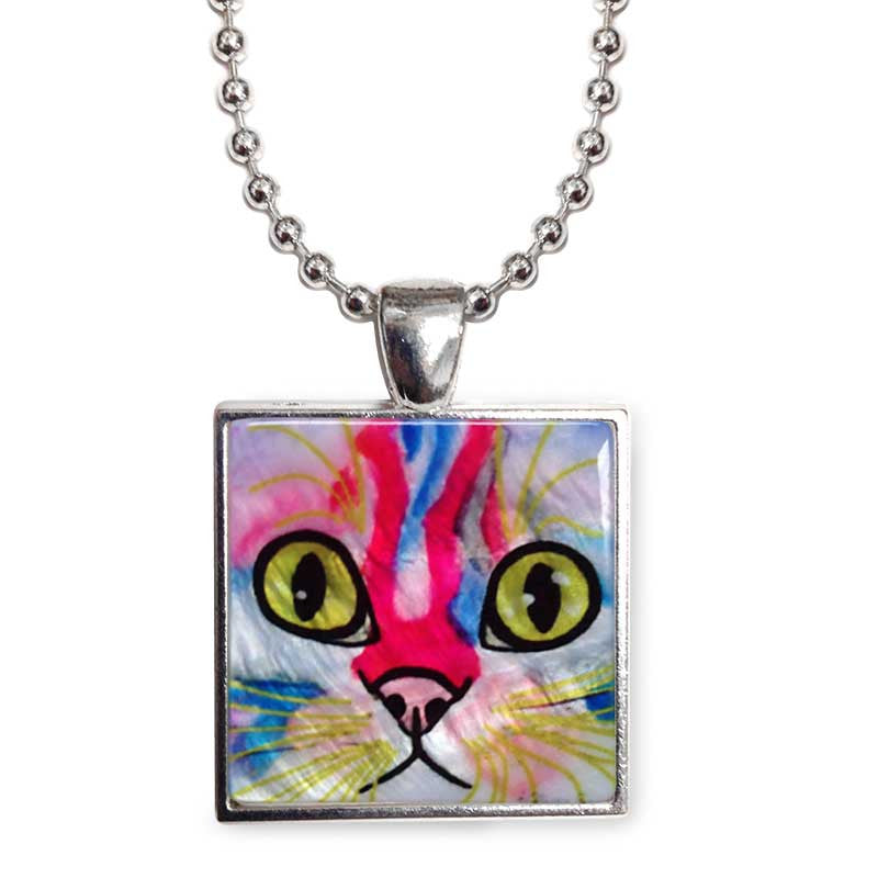 "Elliot Face Cat Art 1"" Mother of Pearl Pendant Necklace by Claudia Sanchez, Claudia's Cats Collection"