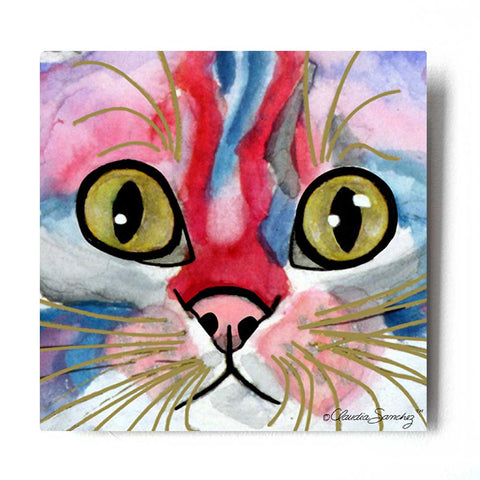 Elliot Face Aluminum Cat Art Print by Claudia Sanchez, Claudia's Cats