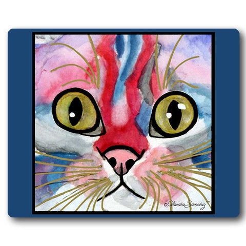 Elliot Face Cat Art Mousepad by Claudia Sanchez, Claudia's Cats Collection