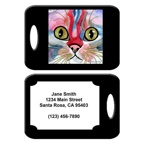 Elliot Face - Cat Art Luggage Tag by Claudia Sanchez