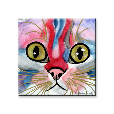Elliot Face - Cat Art Magnet by Claudia Sanchez