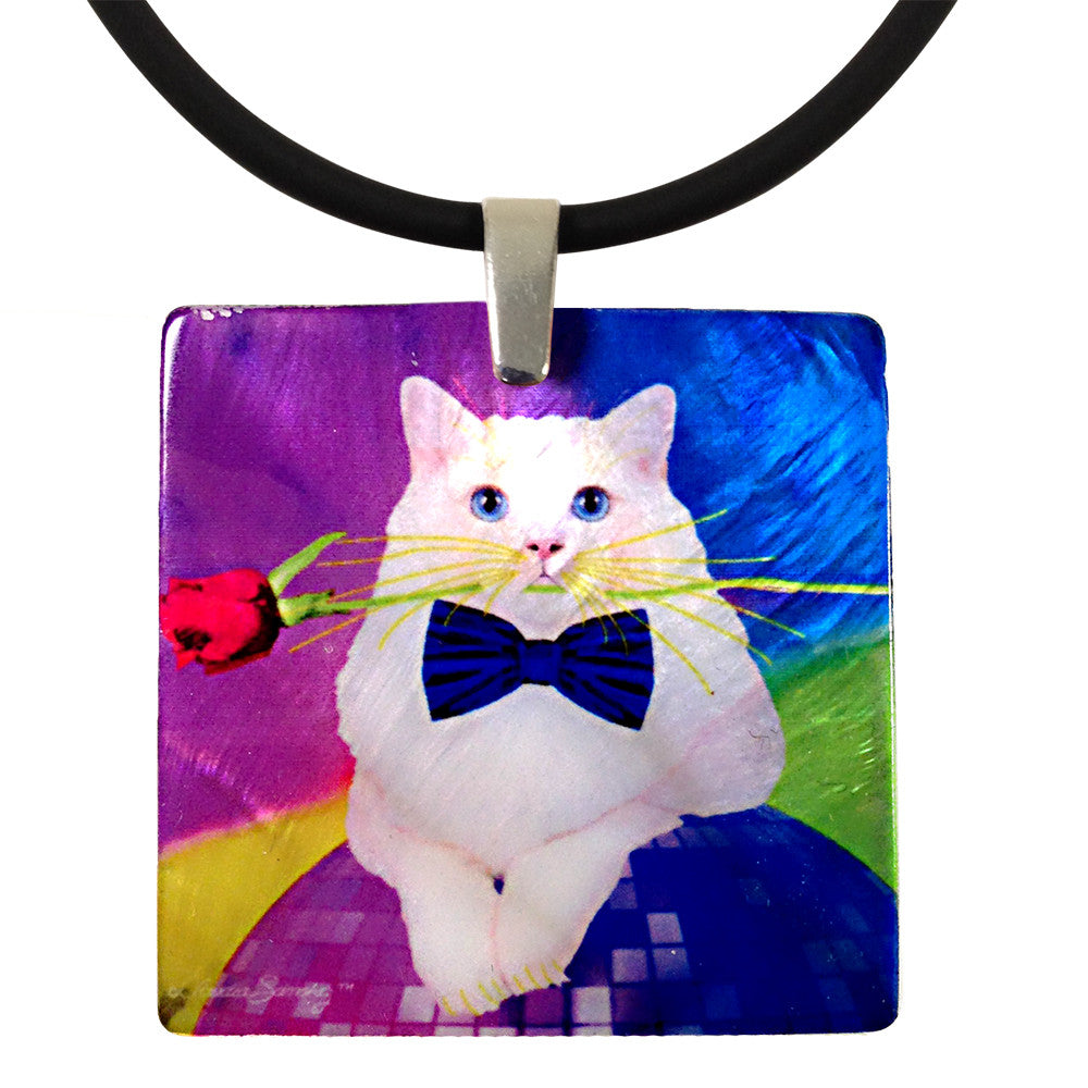 Erik Catango Mother of Pearl Cat Art Pendant Necklace by Claudia Sanchez, Claudia's Cats Collection