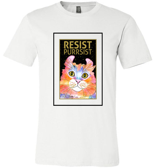Simba RESIST-PURRSIST Mens/Unisex Short Sleeved T-Shirt by Claudia Sanchez