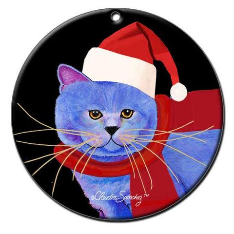 Garlic Cat Portrait Ceramic Cat Art Christmas Ornament by Claudia Sanchez, Claudia's Cats Collection