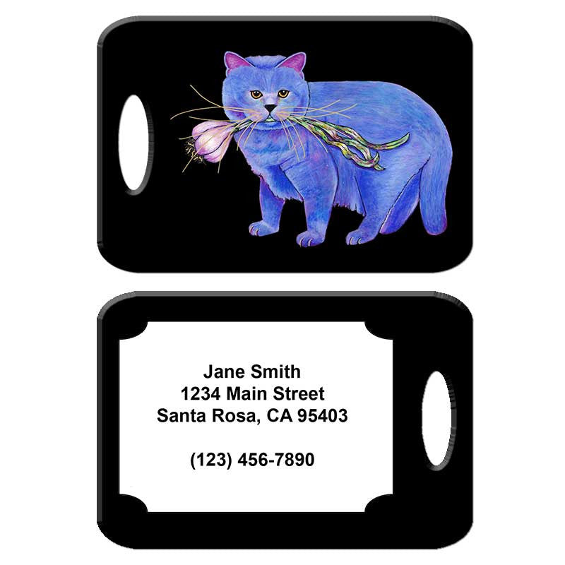 Kayo, Garlic Cat - Cat Art Luggage Tag by Claudia Sanchez