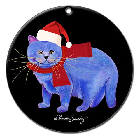 Kayo, Garlic Cat Ceramic Christmas Ornament by Claudia Sanchez, Claudia's Cats Collection