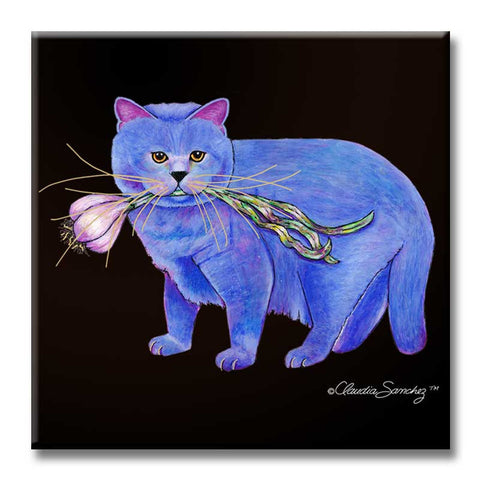 Garlic Cat Decorative Ceramic Cat Art Tile by Claudia Sanchez
