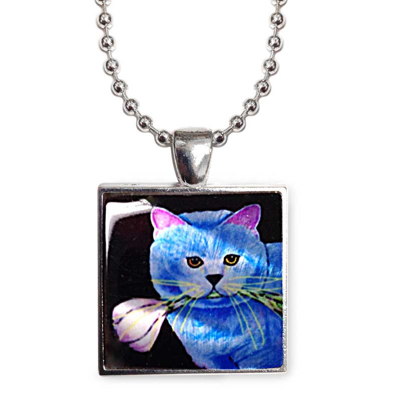 "Kayo, Garlic Cat 1"" Mother of Pearl Pendant Necklace by Claudia Sanchez, Claudia's Cats Collection"