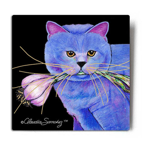 Garlic Cat Portrait Aluminum Cat Art Print by Claudia Sanchez, Claudia's Cats Collection