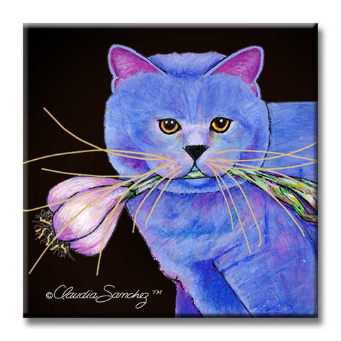 Garlic Cat Portrait Decorative Ceramic Cat Art Tile by Claudia Sanchez