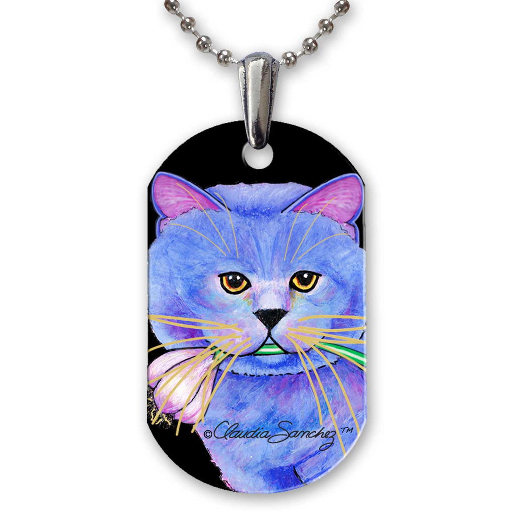 Kayo, Garlic Cat Aluminum Pendant Necklace by Claudia Sanchez - White