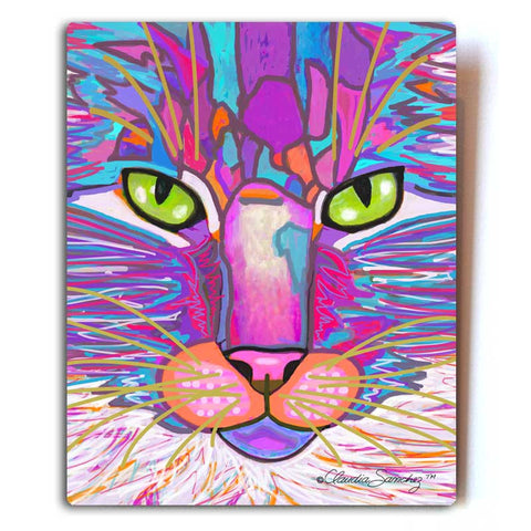 "Goophie Too Aluminum Cat Art Print, 8x10"" - White Metal"