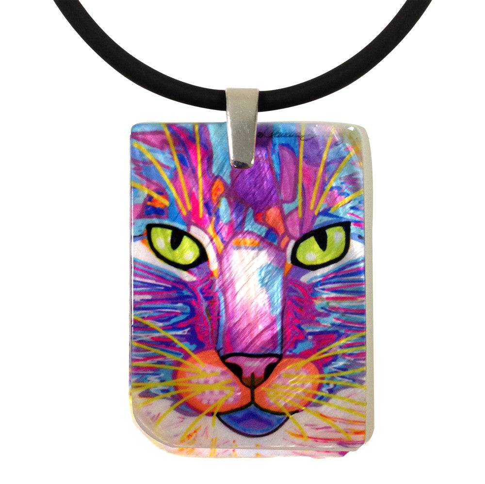 Goophie Mother of Pearl Cat Art Pendant Necklace by Claudia Sanchez