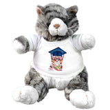 Grey Stuffed cat with Graduation Cat art by Claudia Sanchez