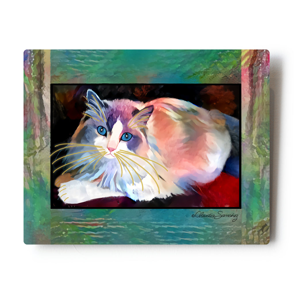"Gunner in the Window Aluminum Cat Art Print, 8x10"" by Claudia Sanchez"