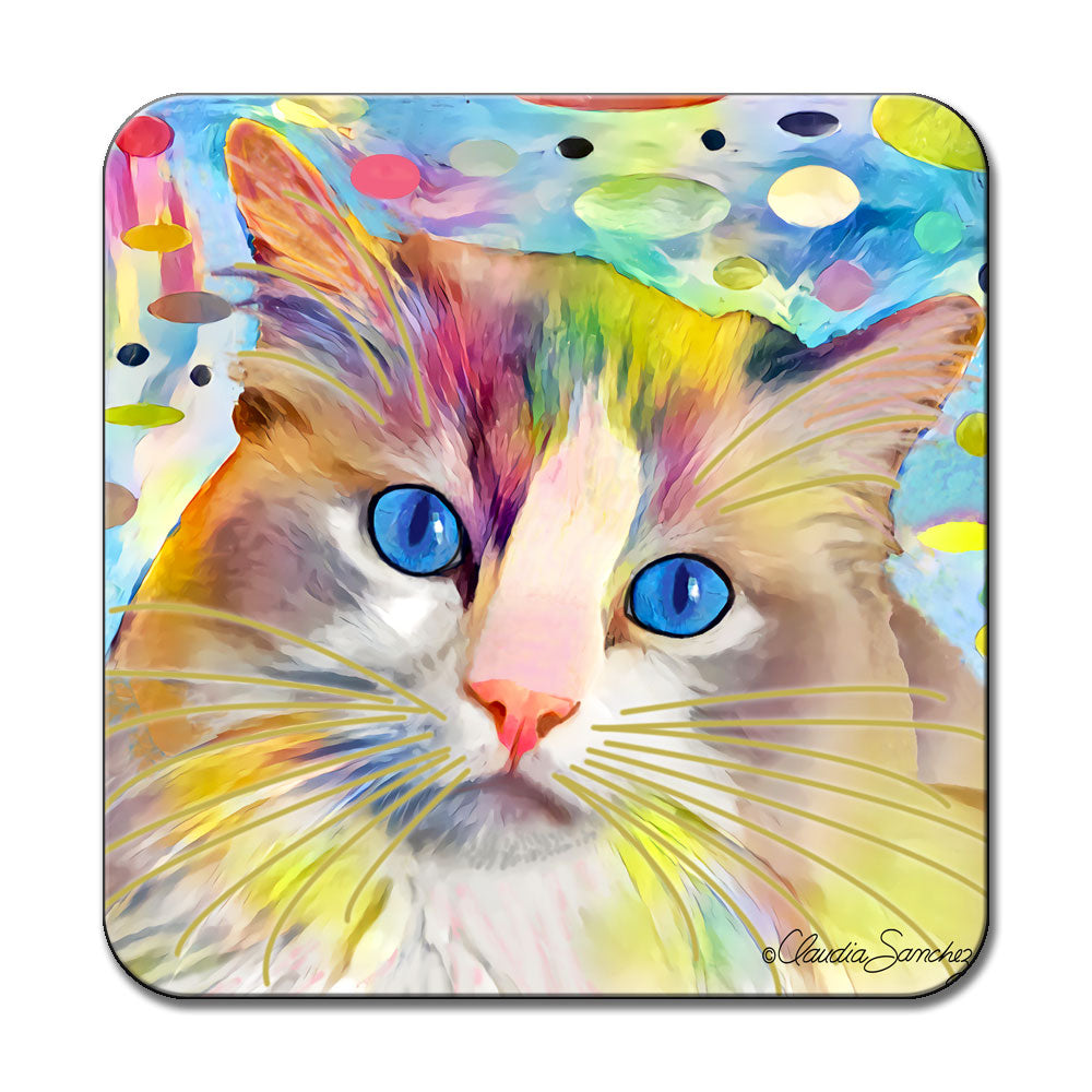 Gunner's Face in Space Cat Art Coaster