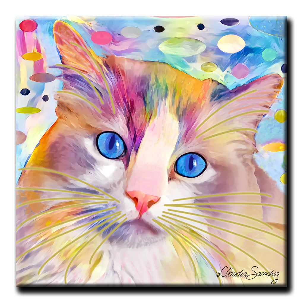Gunner's Face in Space Decorative Ceramic Cat Art Tile by Claudia Sanchez
