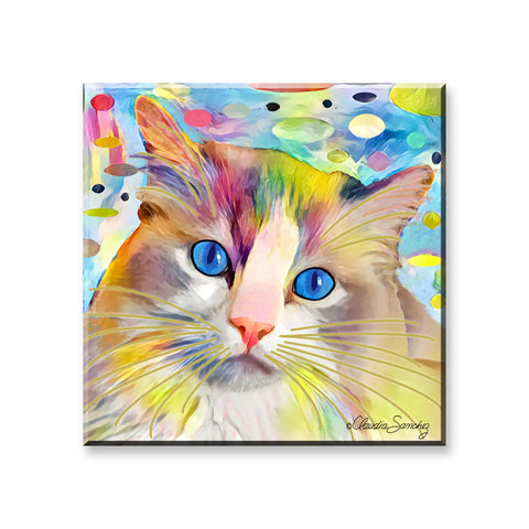 Gunner's Face in Space - Cat Art Magnet by Claudia Sanchez