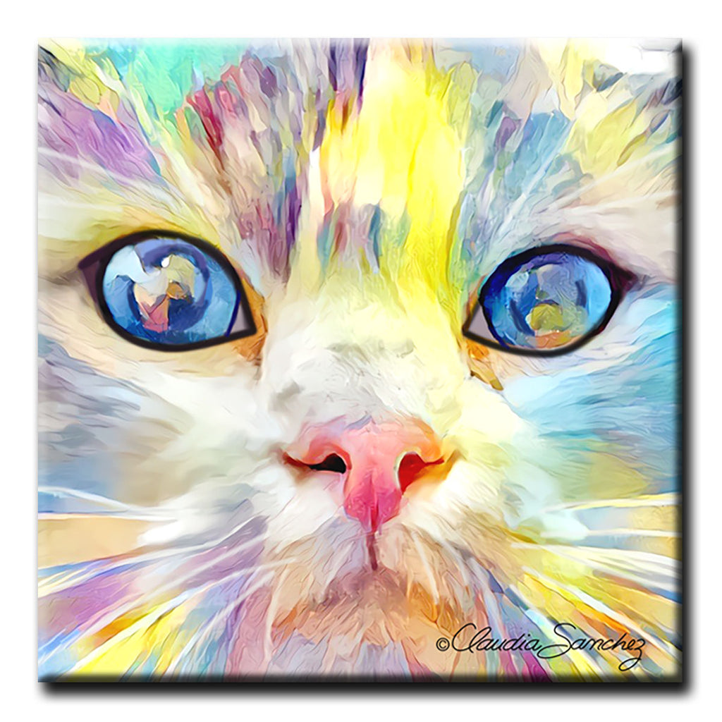 Gunner's Face -  Decorative Ceramic Cat Art Tile by Claudia Sanchez