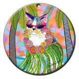 Holly Hula Cat Christmas Ornament by Claudia Sanchez, Claudia's Cats Collection