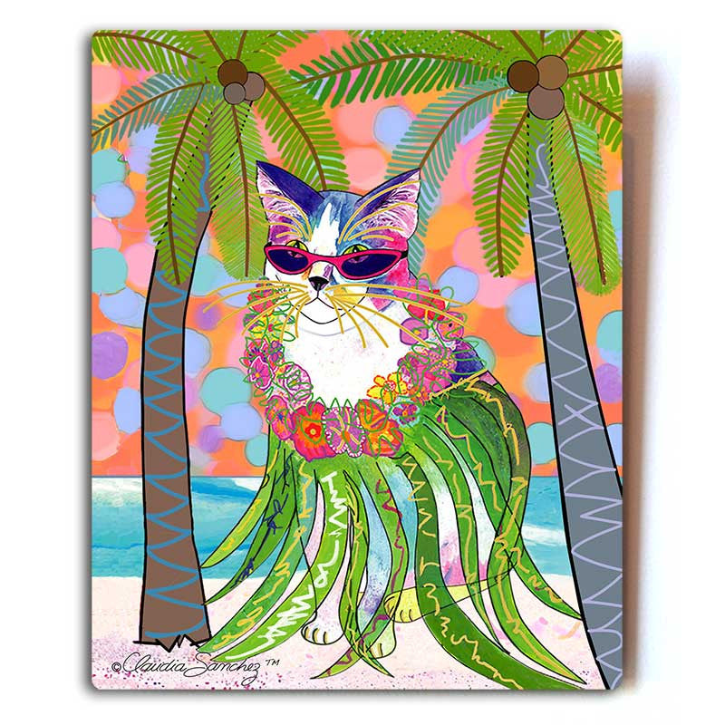 "Holly Hula Cat in Paradise Aluminum Art Print, 8x10"" by Claudia Sanchez, Claudia's Cats Collection"