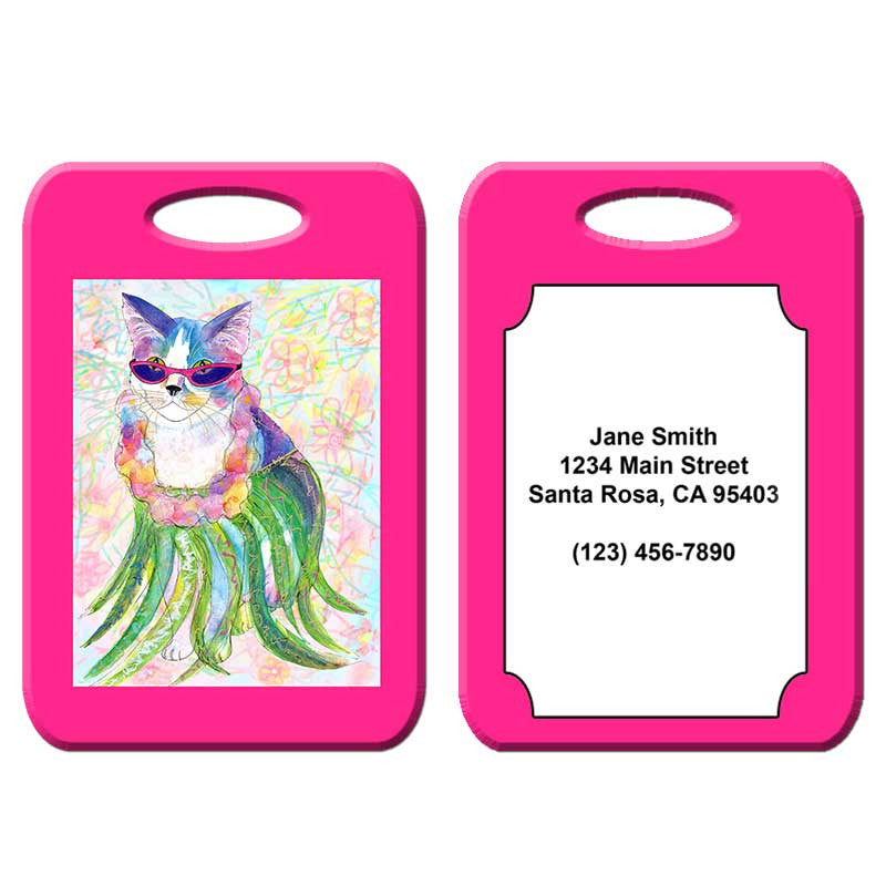 Holly Hula Cat - Cat Art Luggage Tag by Claudia Sanchez