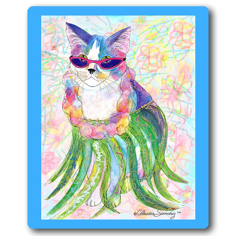 Holly Hula Cat Art Mousepad by Claudia Sanchez, Claudia's Cats Collection
