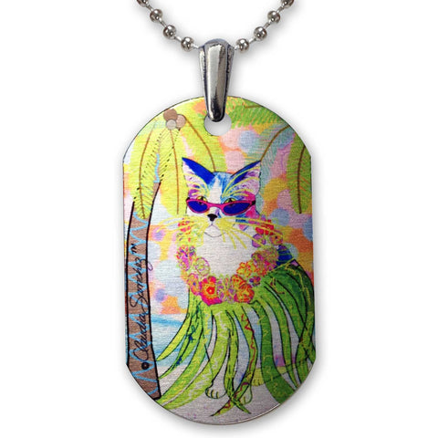 Holly Hula Cat Aluminum Pendant Necklace by Claudia Sanchez, Claudia's Cats Collection