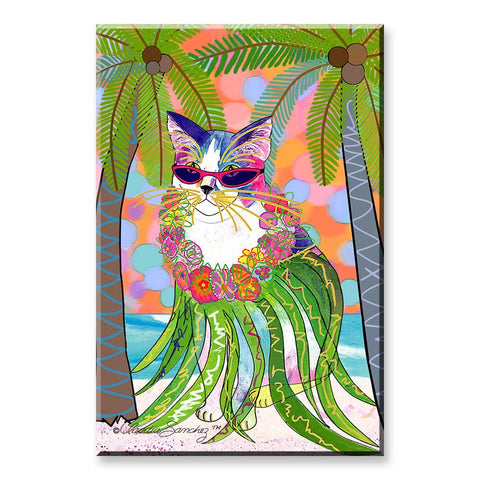 Holly Hula Cat in Paradise - Cat Art Magnet by Claudia Sanchez
