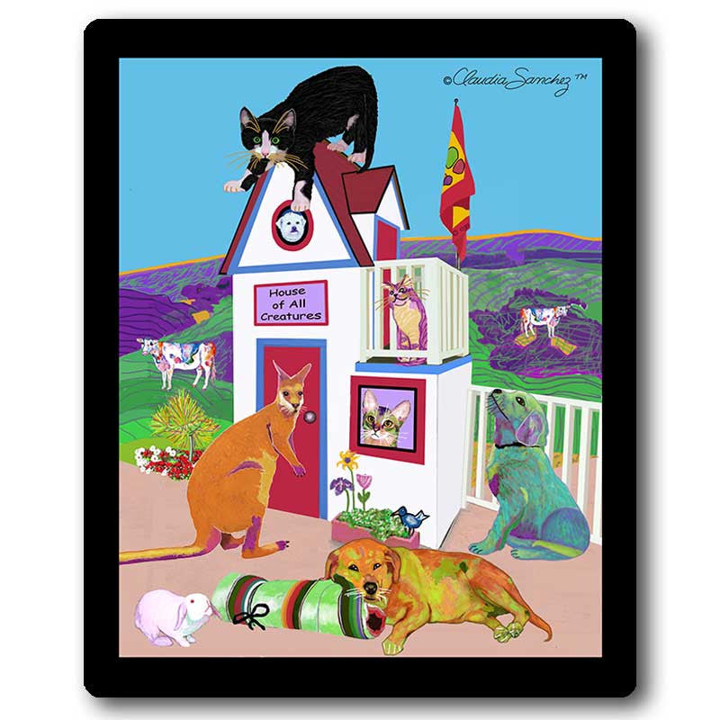 House of All Creatures Cat Art Mousepad by Claudia Sanchez